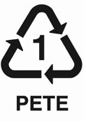 #1-PET or PETE (polyethylene terephthalate)