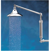"Wide-spray showerhead with 20"" double extension arm"