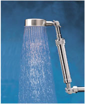 "Pan-Shaped Showerhead with 10"" single extension"