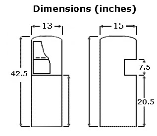 PWC-1500R Water Cooler dimensions.