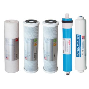 "APEC Complete Filter Set for ULTIMATE RO-Hi model, and RO-90 and RO-PERM Models With 3/8""D Tubing Quick Dispense Upgrade (Stages 1-5)"