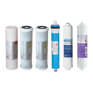 APEC Complete Filter Set for ULTIMATE 90 GPD PH Reverse Osmosis 6-Stage Systems (Stages 1-6)