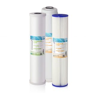 """APEC 20"""" Whole House Sediment, KDF and Carbon Replacement filter set for CB3-SED-KDF-CAB20-BB"""