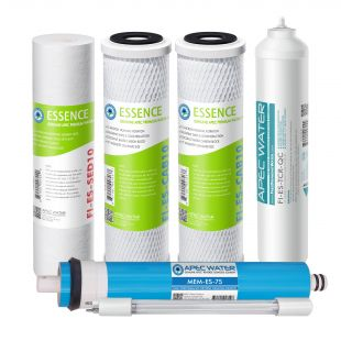 APEC Complete Filter Set for ESSENCE 75 GPD ROES-UV75-SS Reverse Osmosis Systems (Stages 1-6)
