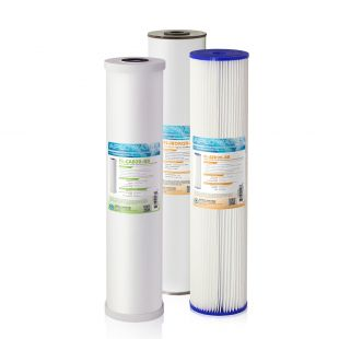 """APEC 20"""" Whole House Sediment, Iron, Carbon Replacement filter set for CB3-SED-IRON-CAB20-BB"""