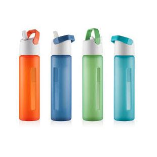 TAKEYA - MODERN FLIP STRAW 18 OZ. GLASS WATER BOTTLE