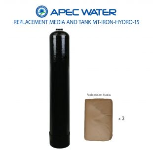 IRON-HYDRO-15 Replacement 1.5 C.F. Media And High Quality Tank To Reduce Iron, Hydrogen Sulfide, And Manganese Through Oxidation
