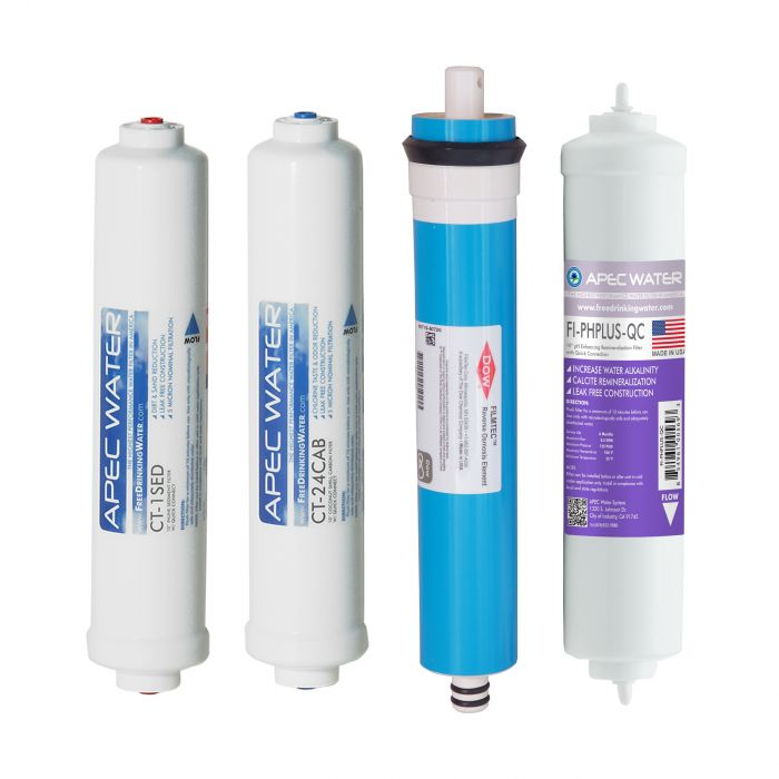 APEC Complete Filter Set for ULTIMATE RO-CTOP-PH and RO-CTOP-PHC Countertop Reverse Osmosis Systems (Stages 1-4)