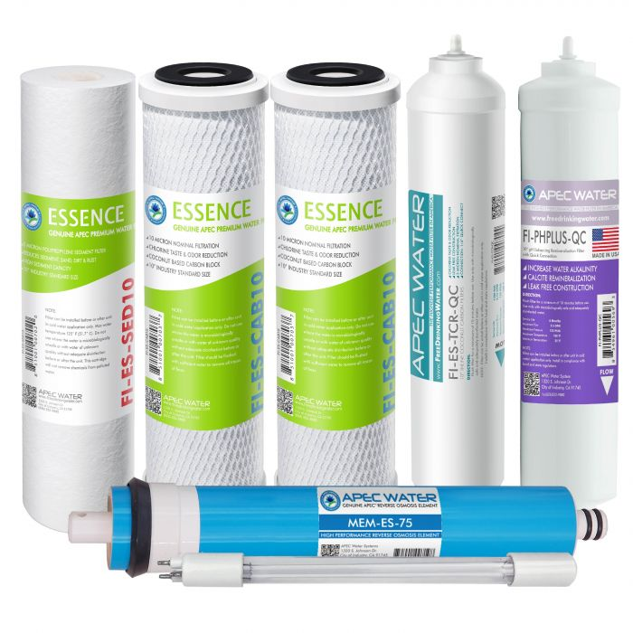 APEC Complete Filter Set for ESSENCE 75 GPD PH and UV Reverse Osmosis 7-Stage Systems (Stages 1-7)