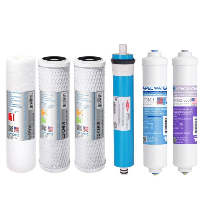 APEC Complete Filter Set for ULTIMATE 90 GPD PH RO 6-Stage Systems (Stages 1-6) - With 3/8